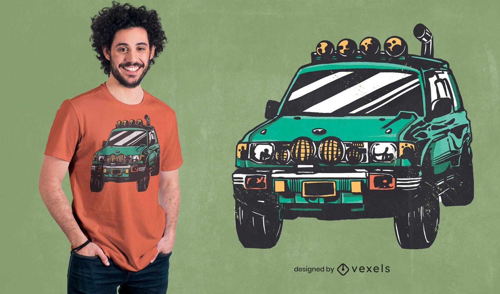 Diseño de camiseta de coche verde todoterreno.