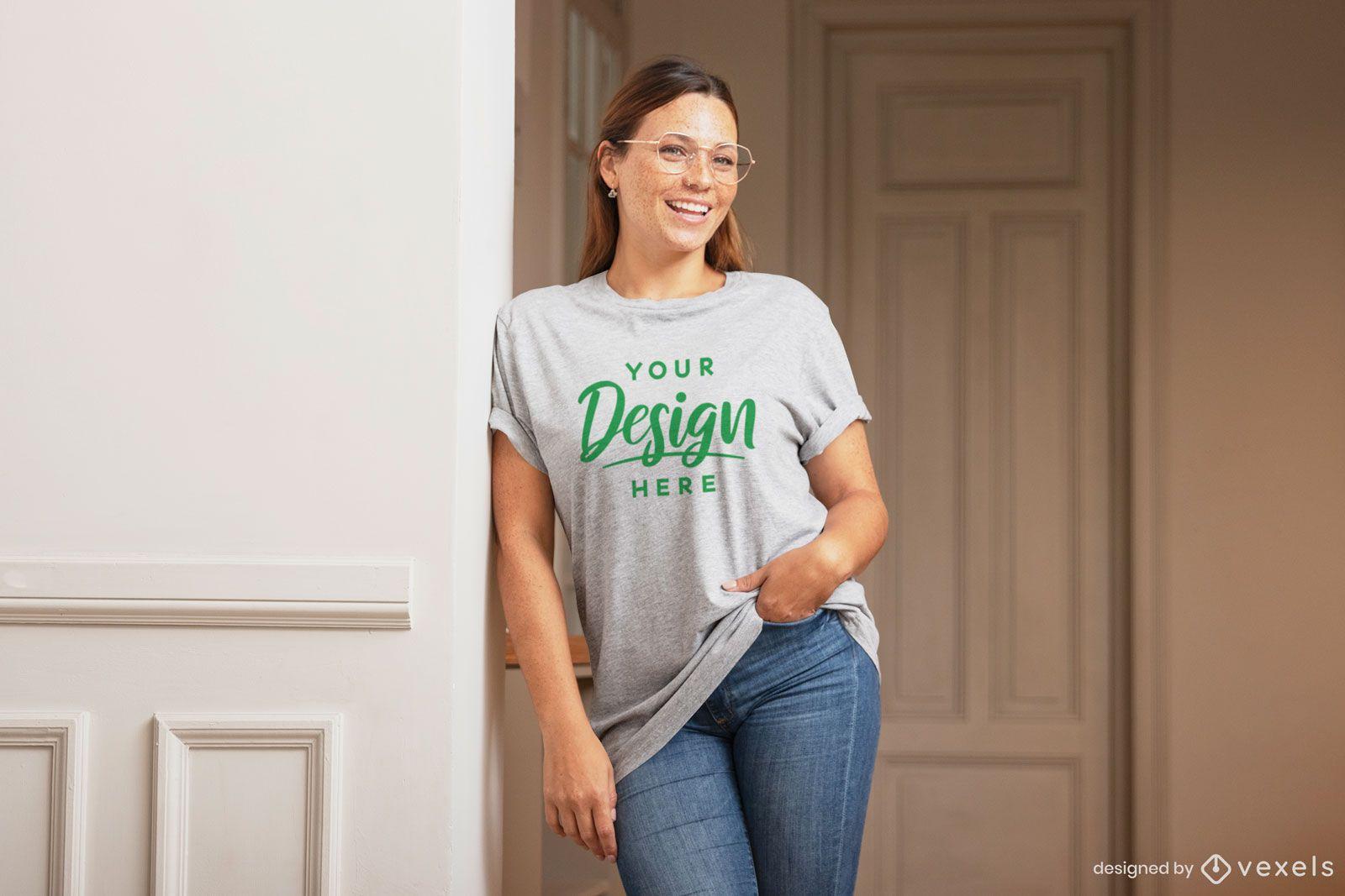 Happy woman indoor t-shirt mockup