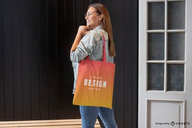 Woman in jean jacket tote bag mockup