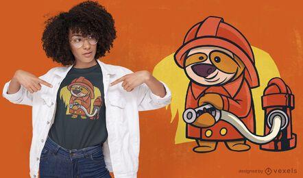 Sloth firefighter cartoon t-shirt design
