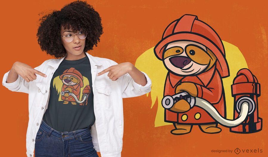 Design de camiseta de desenho animado de bombeiro preguiça