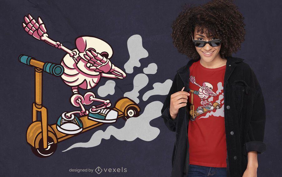 Esqueleto enxugando design de camiseta de scooter