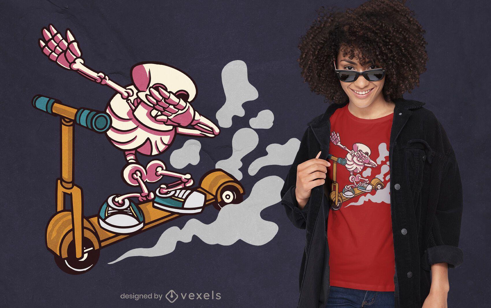 Esqueleto dabbing en diseño de camiseta de scooter