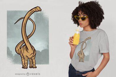 Diseño de camiseta de dinosaurio de cuello largo.