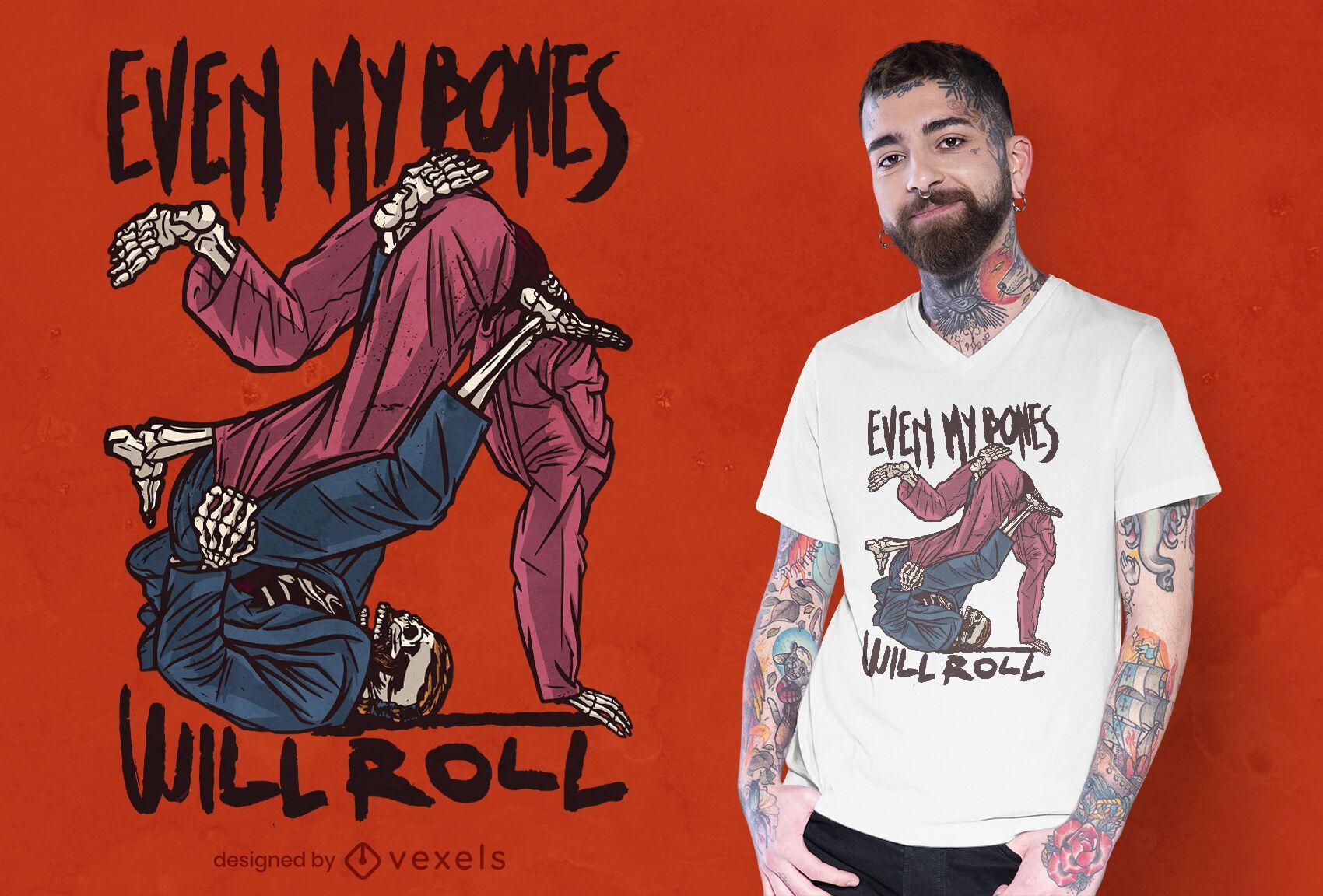 Skeleton sport jiu jitsu t-shirt design