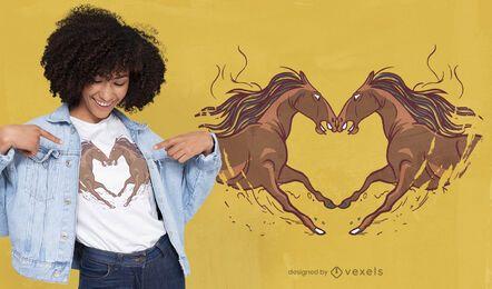 Cavalos modelando o design de camisetas em forma de coração