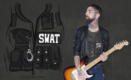 Design de t-shirt com bolsos uniformes de colete swat