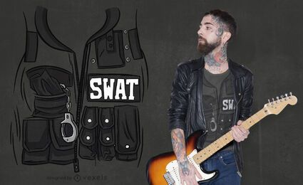 Swat vest uniform pockets t-shirt design