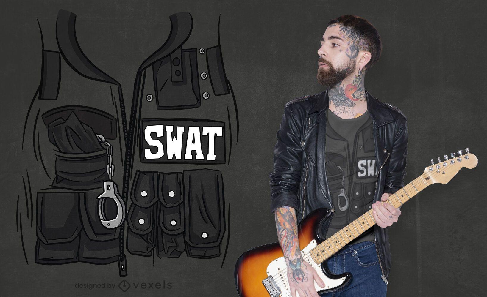 Dise?o de camiseta con bolsillos de uniforme de chaleco Swat