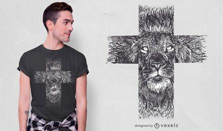 Realistic lion cross t-shirt design