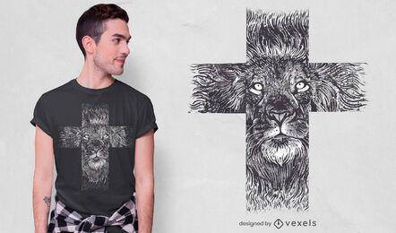 Realistisches Löwenkreuz-T-Shirt Design