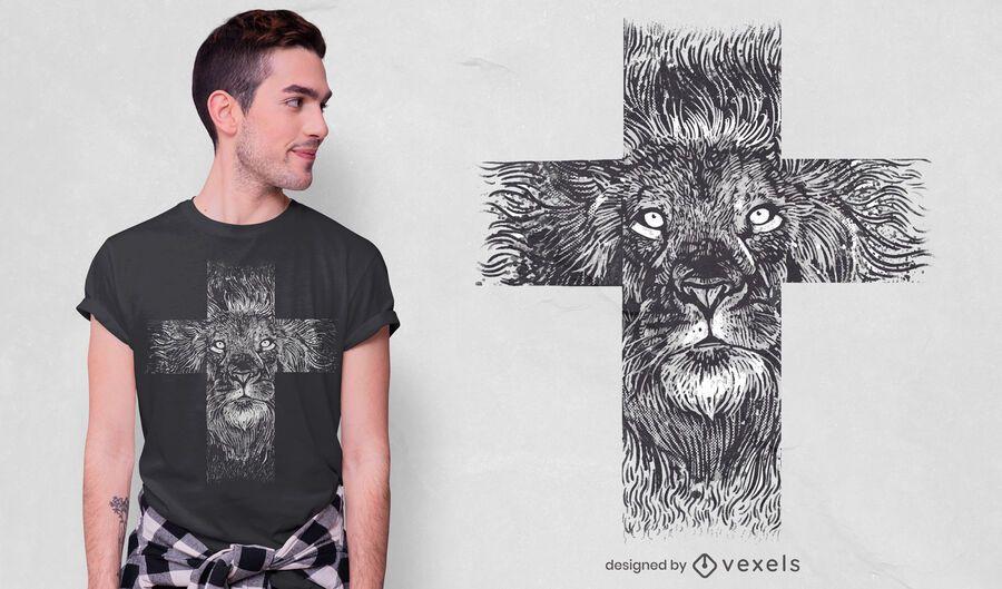Diseño de camiseta de cruz de león realista
