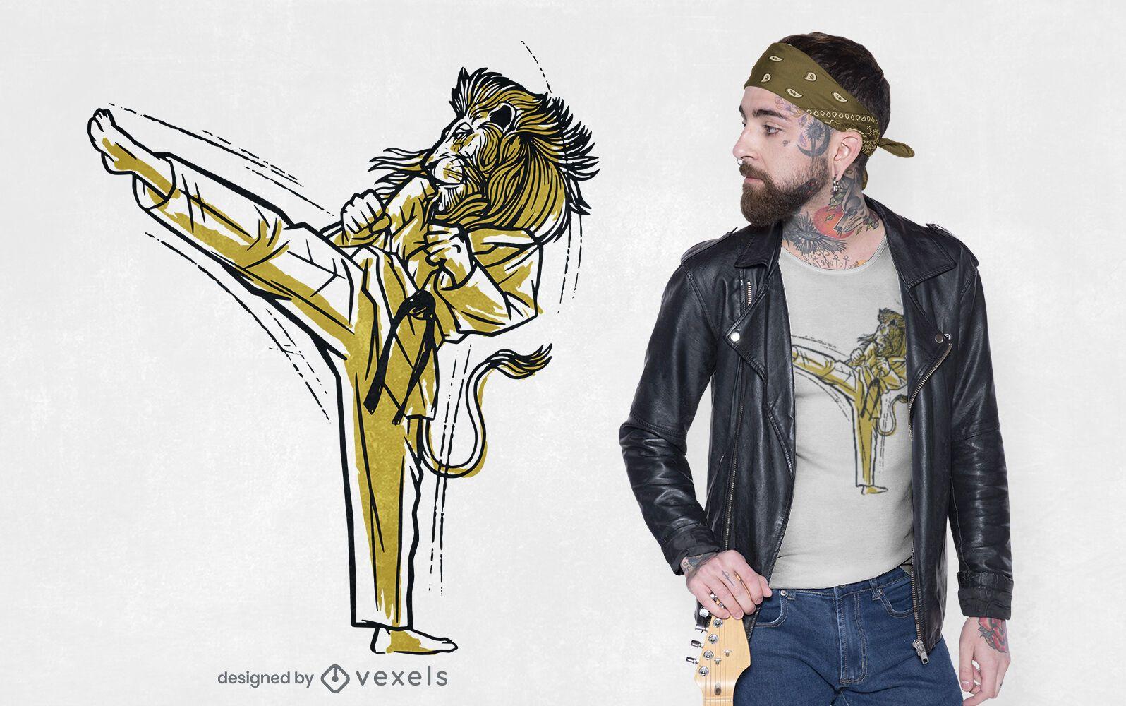 Diseño de camiseta de karate lion kick
