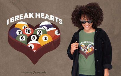 Design de t-shirt de citação de coração de bola de bilhar