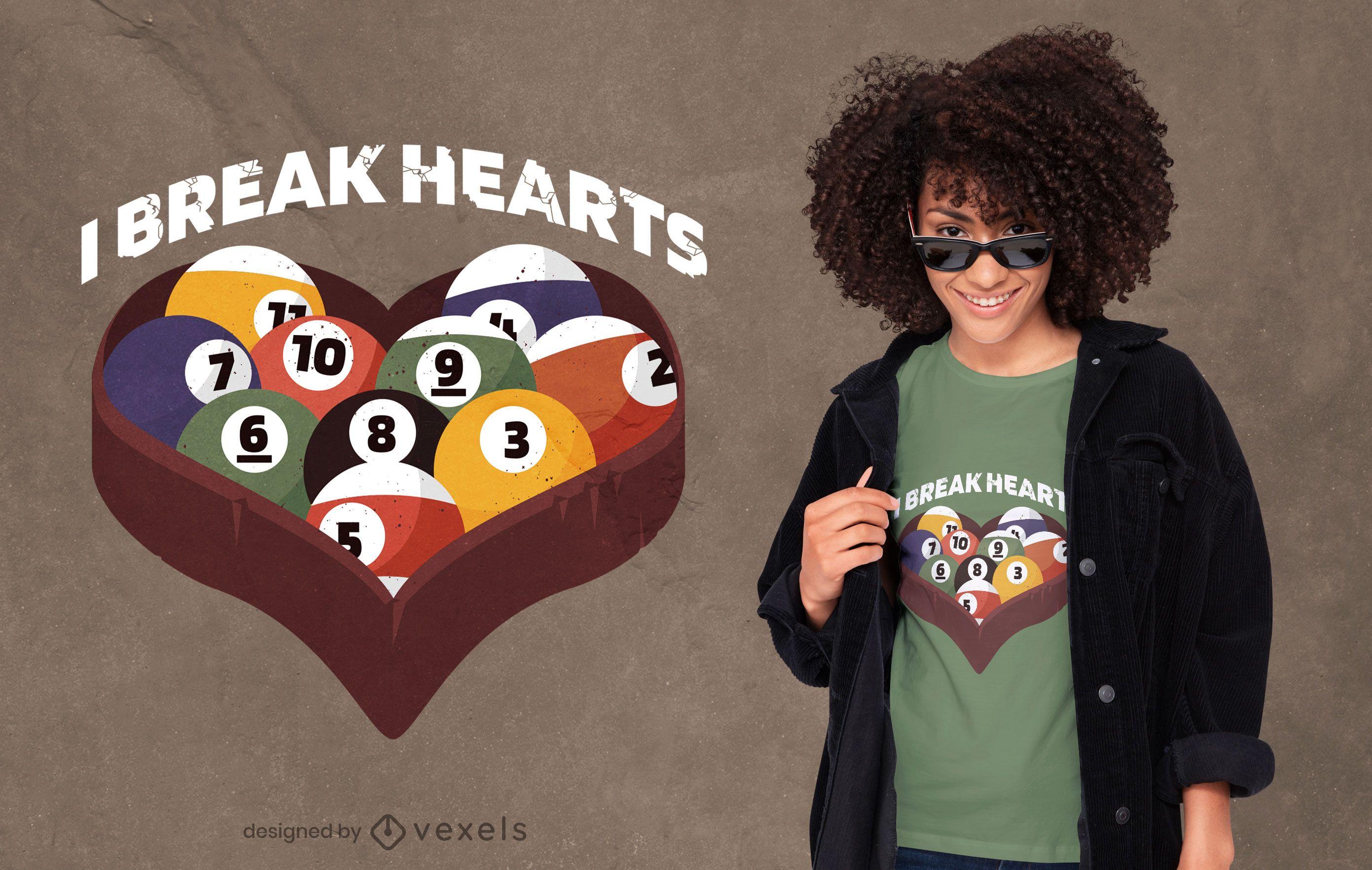 Diseño de camiseta con cita de corazón de bola de billar