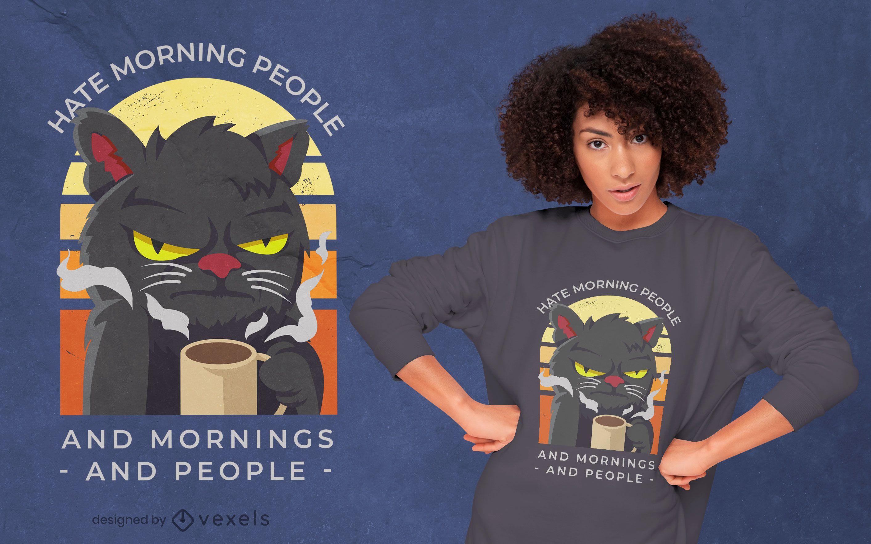 Design de camiseta com café matinal de gato temperamental