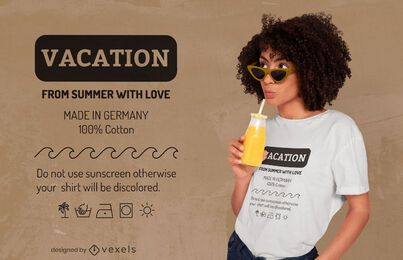 Diseño de camiseta de etiqueta divertida de vacaciones de verano.