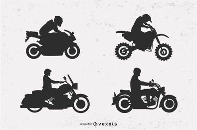 Conjunto de ilustración de silueta de motocicleta
