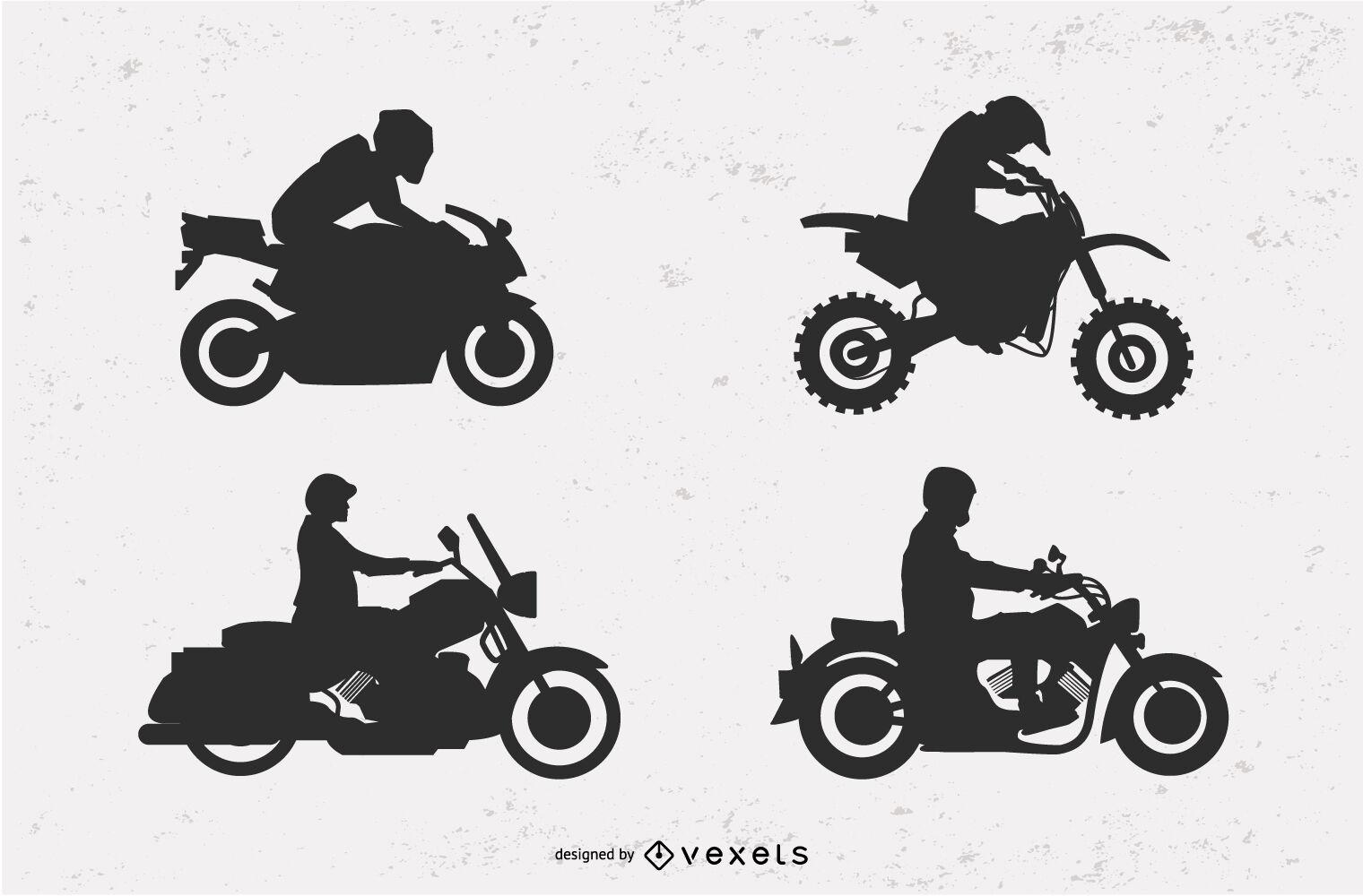 Motorcycle silhouette illustration set