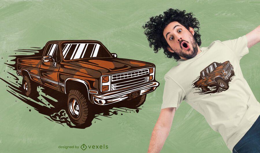 Diseño de camiseta de transporte de camiones 4x4.