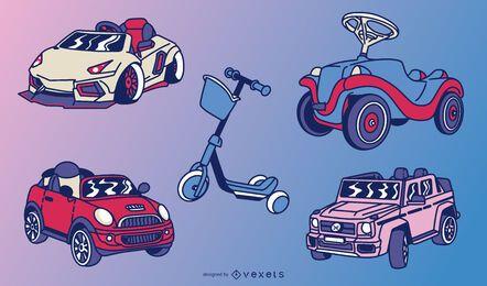 Children toy vehicles illustration set
