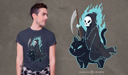 Grim reaper black cat t-shirt design