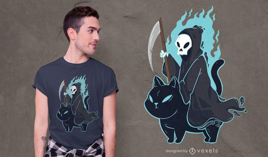 Grim reaper black cat t-shirt design