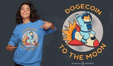 Design de t-shirt criptográfica do astronauta Dogecoin
