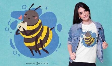 Happy bee drinking coffee t-shirt design