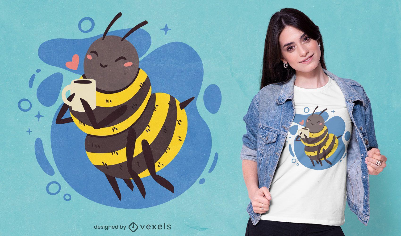 Happy bee drinking coffee t-shirt design