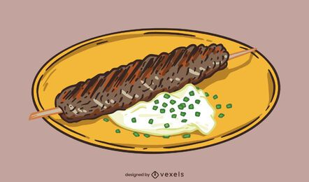 Turkish meat on stick dish illustration
