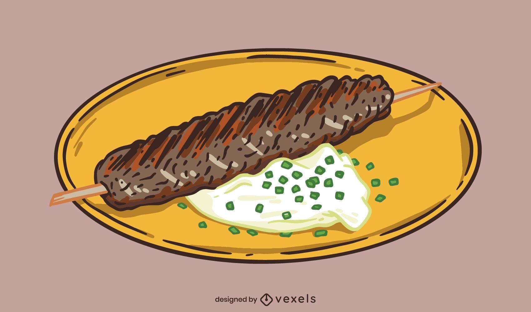 Carne turca en ilustración de plato de palo