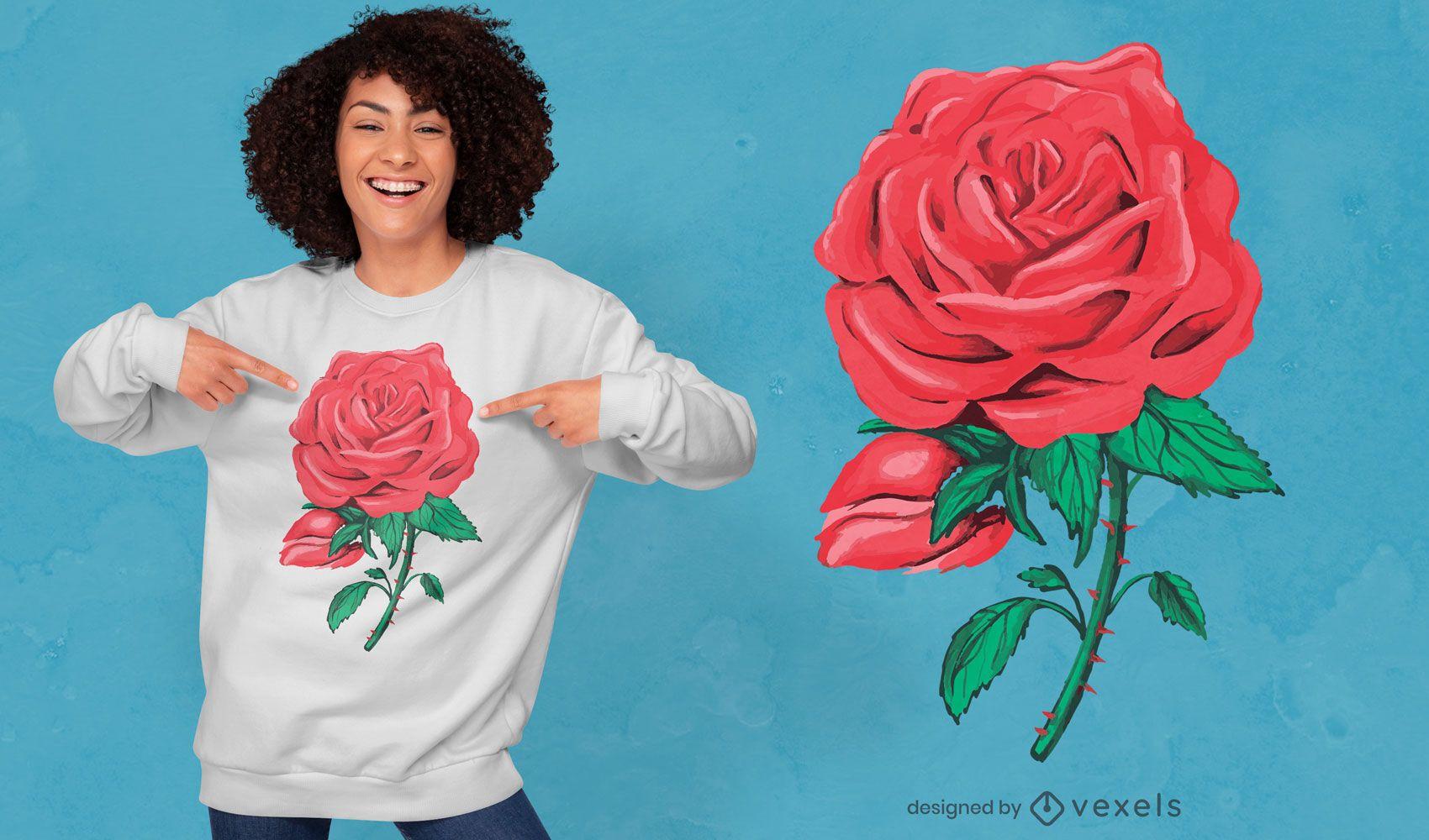 Design de t-shirt com ilustração de rosa vermelha