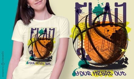 Basketball städtisches Graffiti-T-Shirt Design