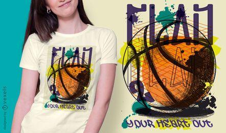 Diseño de camiseta de graffiti urbano de baloncesto.