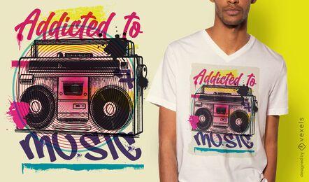 Diseño de camiseta boombox urban graffiti.