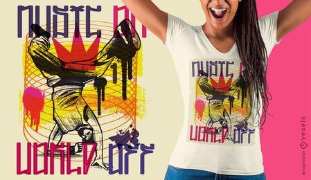 Diseño de camiseta de graffiti urbano breakdancer.