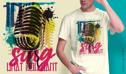 Diseño de camiseta de graffiti urbano de micrófono.