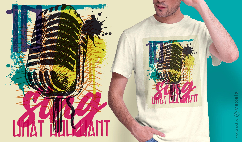 Microphone urban graffiti t-shirt design