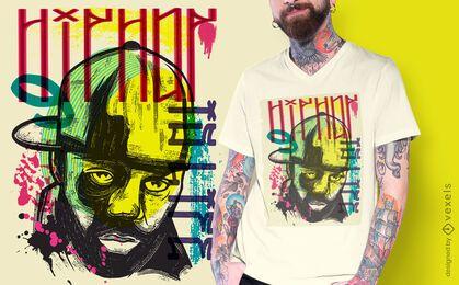 Diseño de camiseta rapero urbano graffiti.