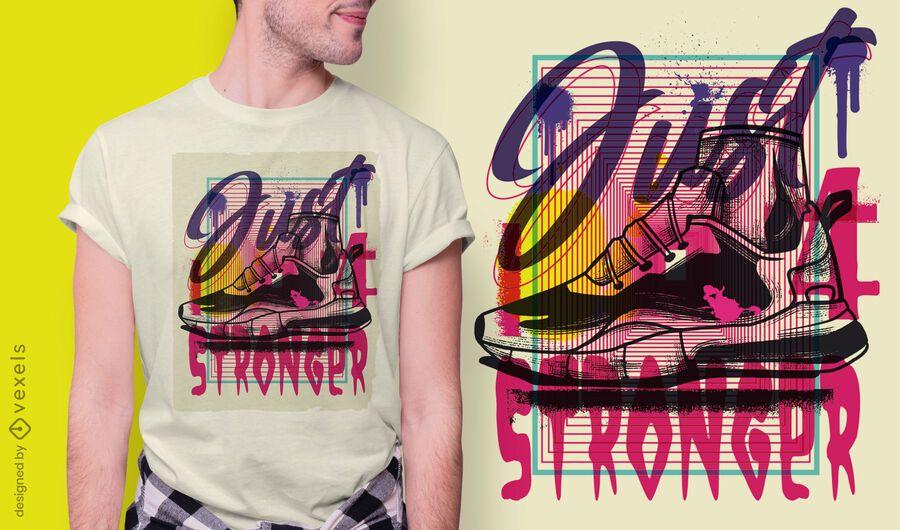 Design de t-shirt de graffiti urbano de calçado desportivo