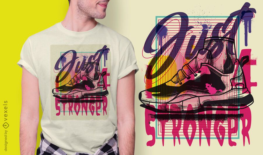 Diseño de camiseta de graffiti urbano de calzado deportivo.
