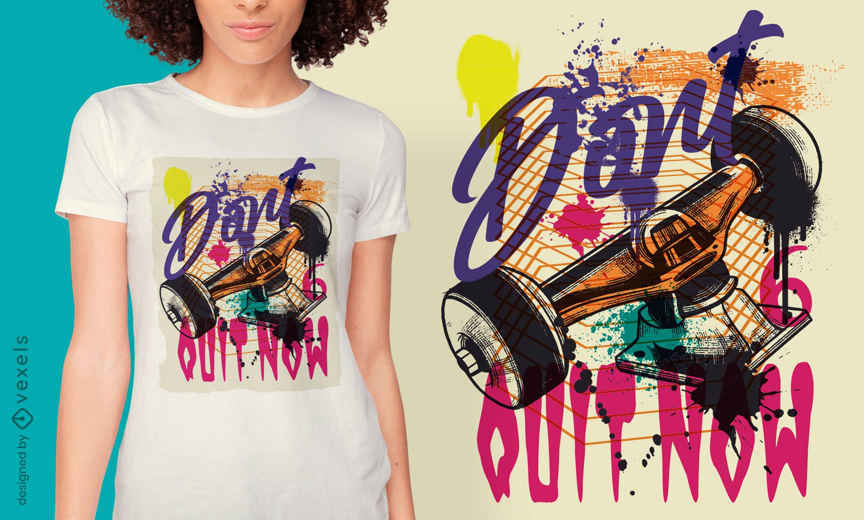 Urban Graffiti T-Shirt Design des Skate-Trucks