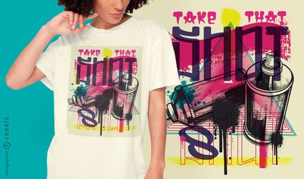 Design de t-shirt urbana de graffiti com tinta spray