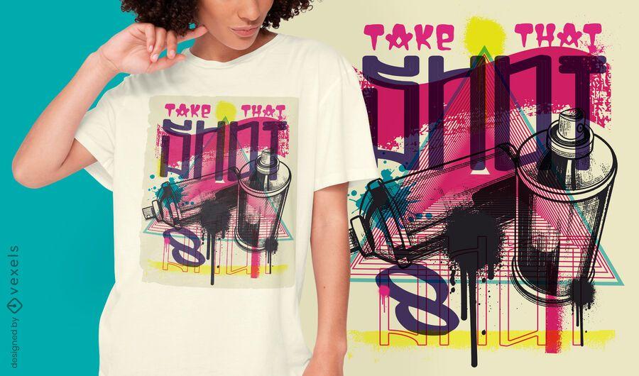 Diseño de camiseta de graffiti urbano de pintura en aerosol.