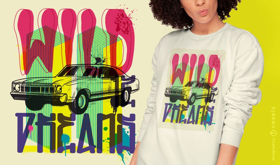 Diseño de camiseta de graffiti urbano de vehículo de coche.
