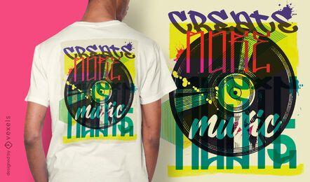 Diseño de camiseta de graffiti urbano de disco de vinilo.