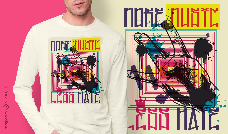 Diseño de camiseta de graffiti urbano con gesto de mano.