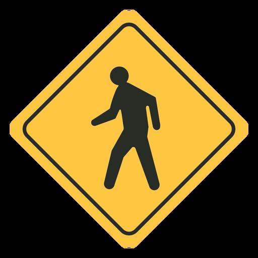 Pedestrian traffic sign flat