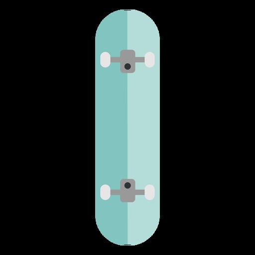 Light blue skateboard from below flat
